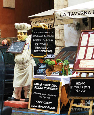 Chef Photograph - Funny Chef Signs At Italian Diner by Cimorene Photography