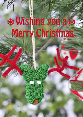 Photograph - Funny Christmas Card Reindeer Ornament On Pine Tree by Marianne Campolongo