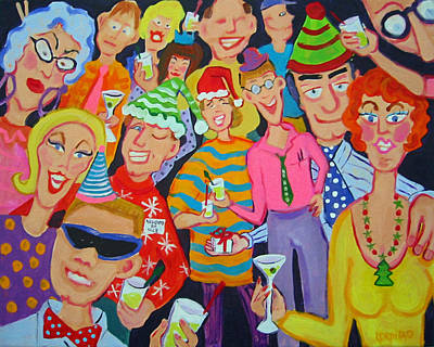 Painting - Funny Christmas Office Party Scene - Santaclaustrophobia by Rebecca Korpita