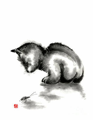 Funny Cat Painting - Funny Cute Little Black Cat And Beetle Japanese Sumi-e Original Ink Painting Art Print by Mariusz Szmerdt