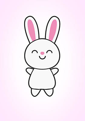Hare Wall Art - Digital Art - Funny Cute Rabbit Bunny In Pink by Philipp Rietz
