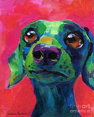 Custom Dog Art Painting - Funny Dachshund Weiner Dog by Svetlana Novikova