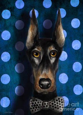 Funny Doberman Pincher Gentleman Dog Portrait Art Print