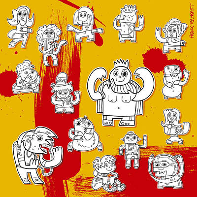 Funny Doodle Characters Urban Art Art Print by Frank Ramspott