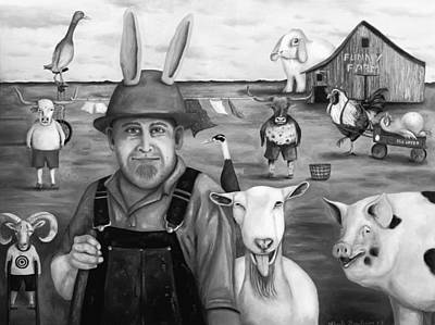 Clothes Line Painting - Funny Farm Bw by Leah Saulnier The Painting Maniac