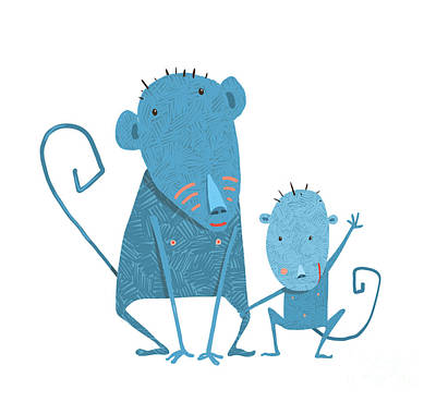 Monkey Wall Art - Digital Art - Funny Kids Monkey Characters Mother And by Popmarleo