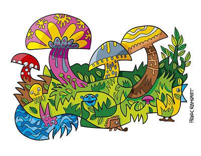 Funny Mushroom Animals Scene Doodle Art Print