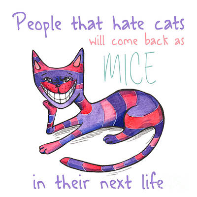 Funny Purple-pink Cat Poster Original