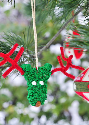 Decorated For Christmas Photograph - Funny Reindeer Ornament On Pine Tree by Marianne Campolongo
