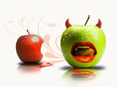 Funny Satirical Digital Image Of Red And Green Apples Strange Fruit Art Print by Sassan Filsoof