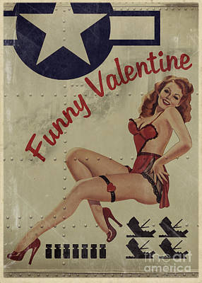 Pin Up Girl Painting - Funny Valentine Noseart by Cinema Photography