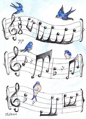 Piano Painting - Fur Elise Song Birds by Theresa Stinnett