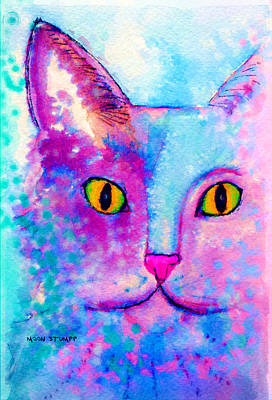 Watercolor And Ink Painting - Fur Friends Series - Fitch by Moon Stumpp