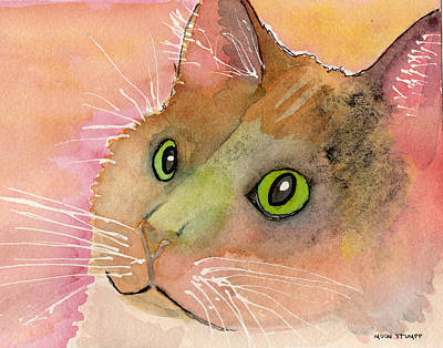 Watercolor And Ink Painting - Fur Friends Series - Muggs by Moon Stumpp
