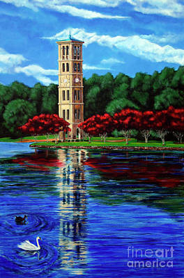 Carolina Duck Painting - Furman University Bell Tower by AWellsArtworks Fine Art