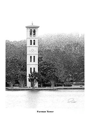 Pencil Drawing Mixed Media - Furman Tower - Architectural Renderings by AWellsArtworks Fine Art