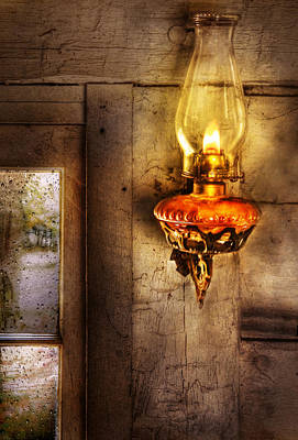 Furniture - Lamp - Kerosene Lamp Art Print by Mike Savad