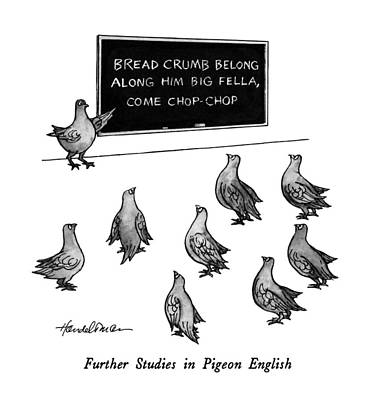 Blackboards Drawing - Further Studies In Pigeon English by J.B. Handelsman