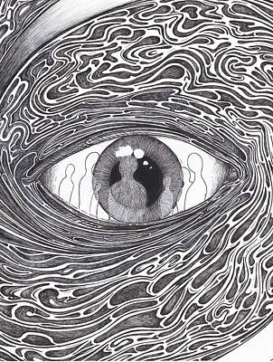 Pen And Ink Drawing - Furthest From Wisdom by Michael Paul Gavazzi