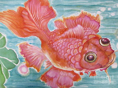 Painting - Fuschia Goldfish by Lynn Maverick Denzer
