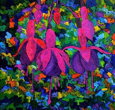 Fuschias Flowers Original by Pol Ledent