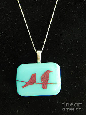 Jewelry - Fused Glass Bird Pendant by Patricia  Tierney