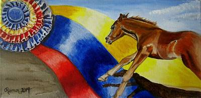 Western Pleasure Horse Painting - Future Champions I  by Kathleen  Reiman