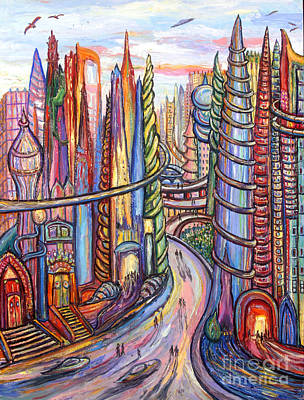 Surreal Painting - Future City by Arthur Robins