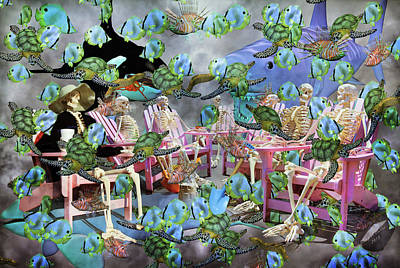 Meditative Mixed Media - Future Of The Sea Committee  by Betsy Knapp