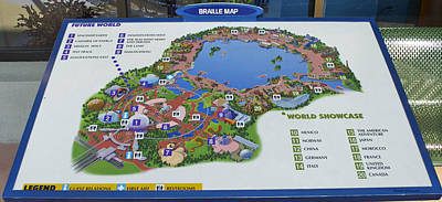 By Thomas Woolworth Photograph - Future World Map Walt Disney World Digital Art by Thomas Woolworth