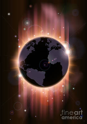 Futuristic Globe Concept Illustration Art Print