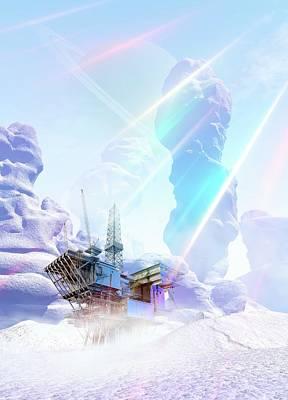 Futuristic Mine Art Print by Victor Habbick Visions