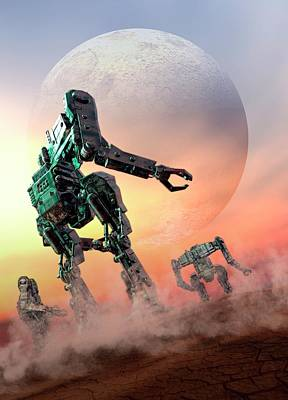 Futuristic Robots Print by Victor Habbick Visions