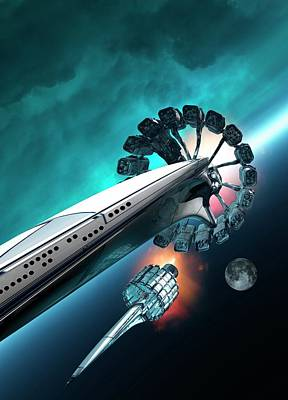 Outer Space Photograph - Futuristic Spacecraft by Victor Habbick Visions