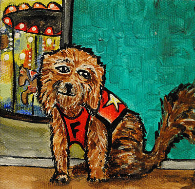 By Patricia Arroyo Painting - Fuzzy The Dog by Patricia Arroyo