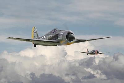 Cloudscape Digital Art - Fw 190 - Butcher Bird by Pat Speirs