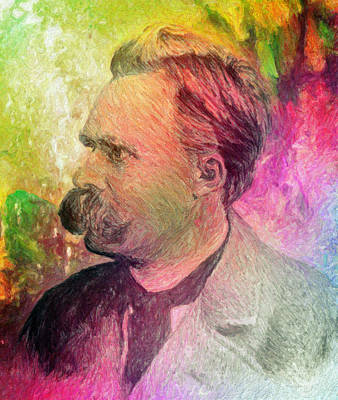 Greek School Of Art Painting - F.w. Nietzsche by Taylan Apukovska