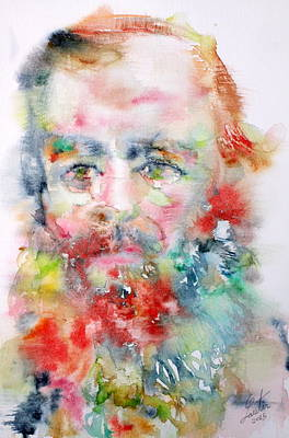 Fyodor Dostoyevsky - Watercolor Portrait.4 Original by Fabrizio Cassetta