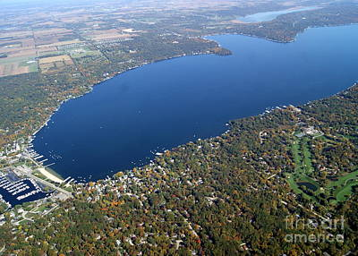 Photograph - G-048 Geneva Lake Wisconsin West End Fall by Bill Lang