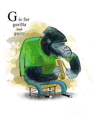 Gorilla Mixed Media - G Is For Gorilla by Sean Hagan