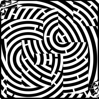 Alphabet Mazes Drawing - G-mazed Maze by Yonatan Frimer Maze Artist
