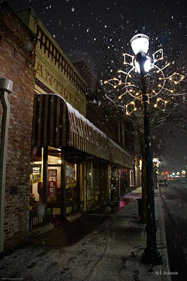 G Street Antique Store In The Snow Art Print by Mick Anderson