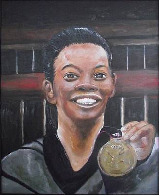 Black History Painting - Gabby Douglas by Anthony Hurt