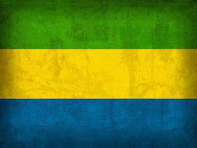Gabon Mixed Media - Gabon Flag Vintage Distressed Finish by Design Turnpike