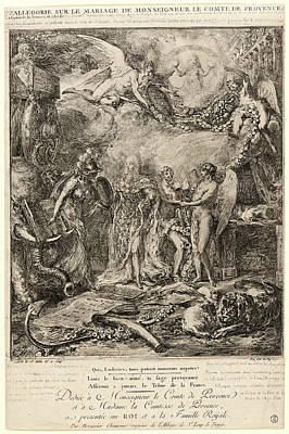 Provence Drawing - Gabriel De Saint-aubin French, 1724 - 1780. Allegorie Sur by Litz Collection