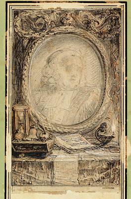 Gabriel Jacques De Saint-aubin, Allegorical Frame With A Bat Art Print