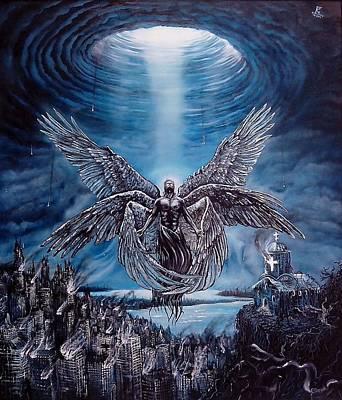 Seraphim Angel Painting - Gabriel's Trumpet by Dejan Krstic