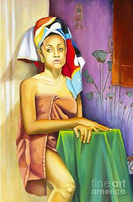Woman In Shower Painting - Gaby by Marlene Book
