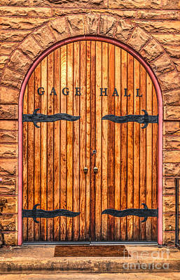 Photograph - Gage Hall Wood Door by Dale Powell