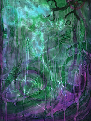 Cauldron Painting - Gaia Abstract 3 Of 3 by Luis  Navarro